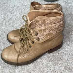 Tan booties with lace detail